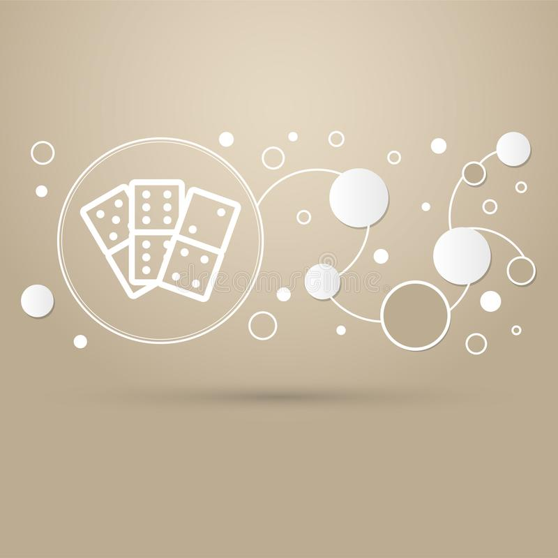 Domino icon on a brown background with elegant style and modern design infographic. stock illustration