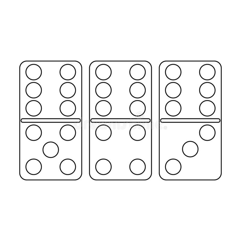 Domino icon in outline style isolated on white background. Board games symbol stock vector illustration. Domino icon in outline style isolated on white royalty free illustration