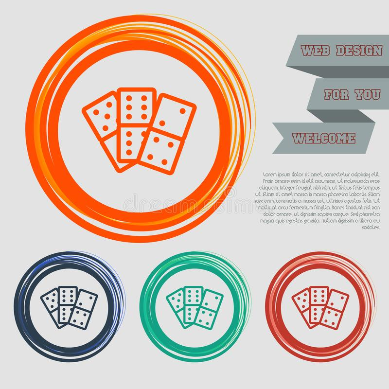 Domino icon on the red, blue, green, orange buttons for your website and design with space text. vector illustration