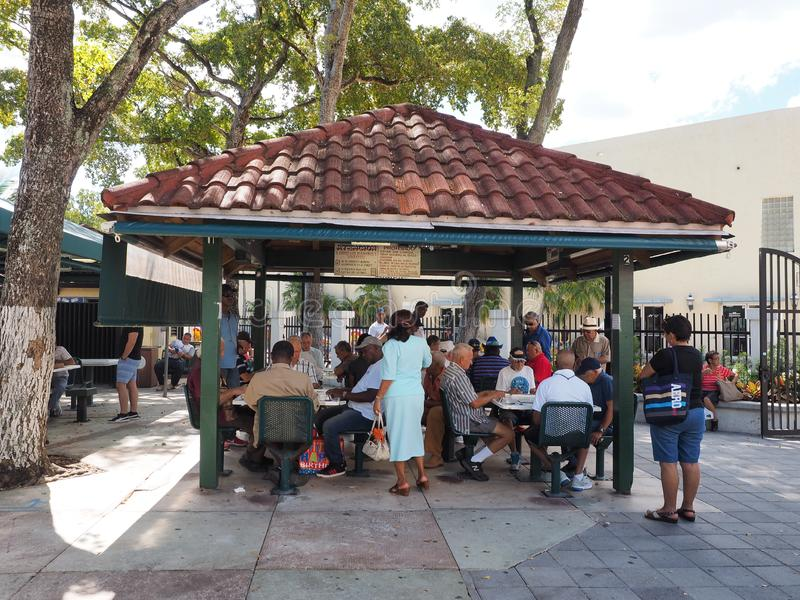Domino Park on Calle Ocho in Little Havana, Miami, Florida. Miami, Florida 10-21-2018 Senior Cubans gather at Domino Park on Calle Ocho - Eigth Street - in royalty free stock photography