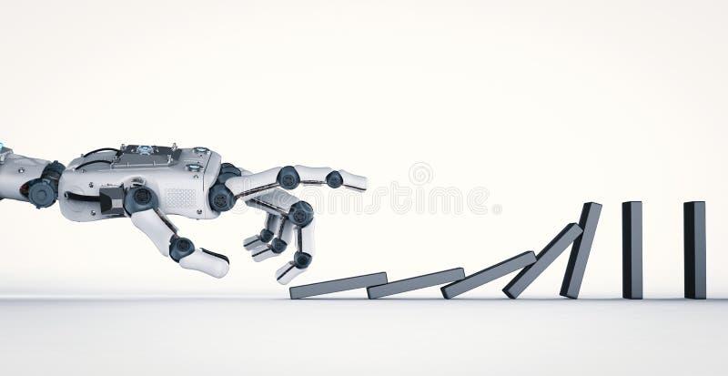Domino robot di crollo della mano illustrazione di stock