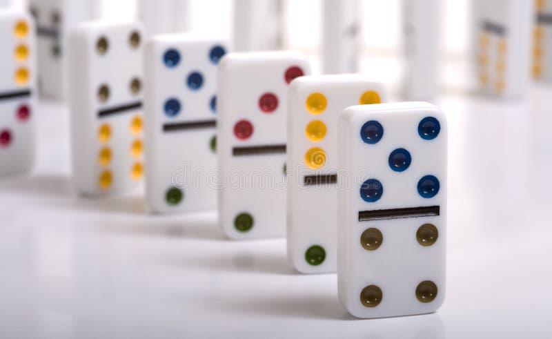 Domino's op Wit royalty-vrije stock foto's