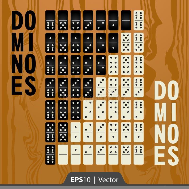 Domino's voor de interfaceontwerp van de spelontwikkeling worden geplaatst in twee kleuren die stock foto