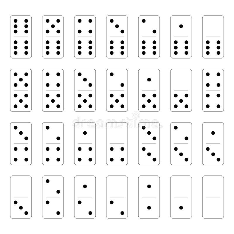 Free Domino Set Of 28 Tiles. White Pieces With Black Dots. Simple Flat Vector Illustration Royalty Free Stock Photo - 173982055