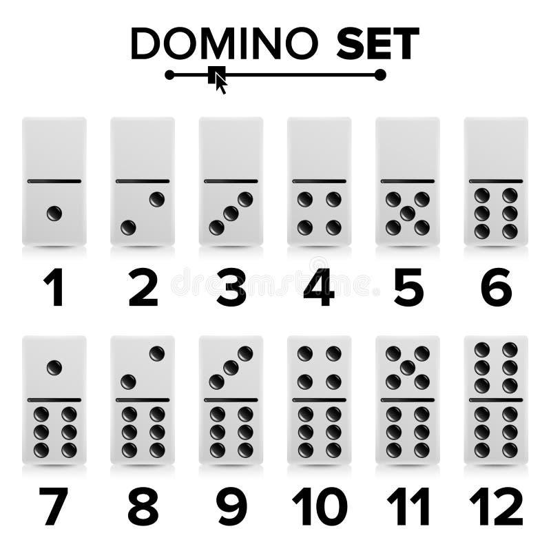 Domino Set Vector Realistic Illustration. White Color. Dominoes Bones On White. Modern Collection stock illustration