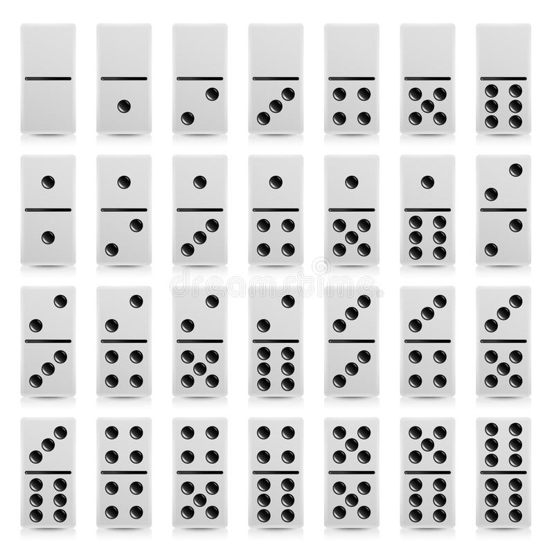 Domino Set Vector Realistic Illustration. White Color. Full Classic Game Dominoes On White. Modern Collection stock illustration