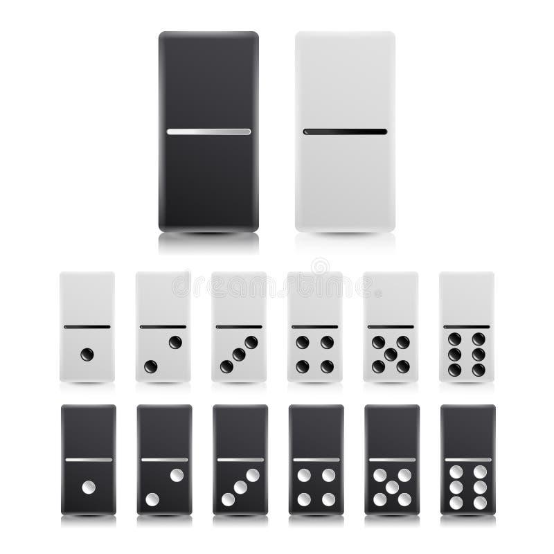 Domino Vastgestelde Vector Zwart-witte illustratie Realistische Domino'sinzameling op Wit vector illustratie