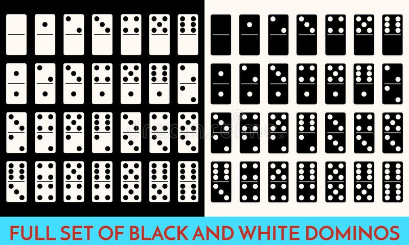 Domino White and black Color Set . Full Classic Game Dominoes bones Isolated On White. Modern Collection Vector stock illustration