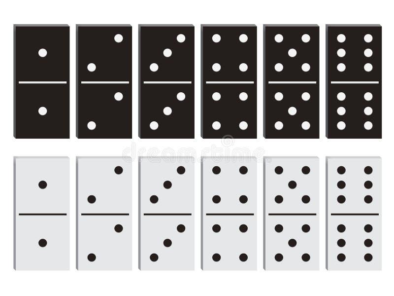 Domino zwart-witte reeks stock illustratie
