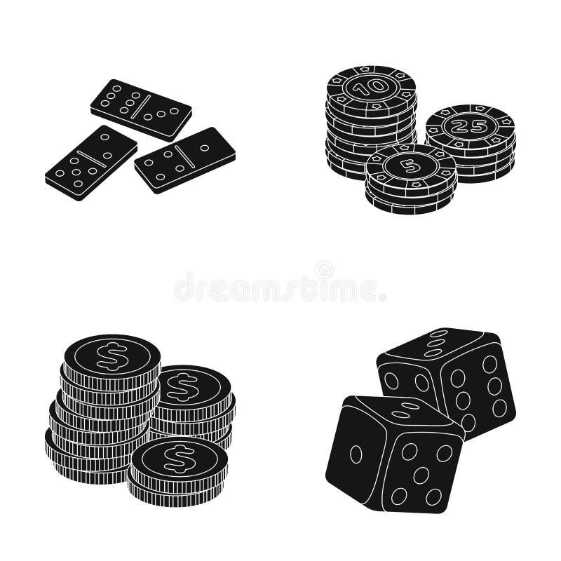 Dominobrickaben, bunt av chiper, en hög av mont som spelar kvarter Fastställda samlingssymboler för kasino och för dobbleri i sva vektor illustrationer