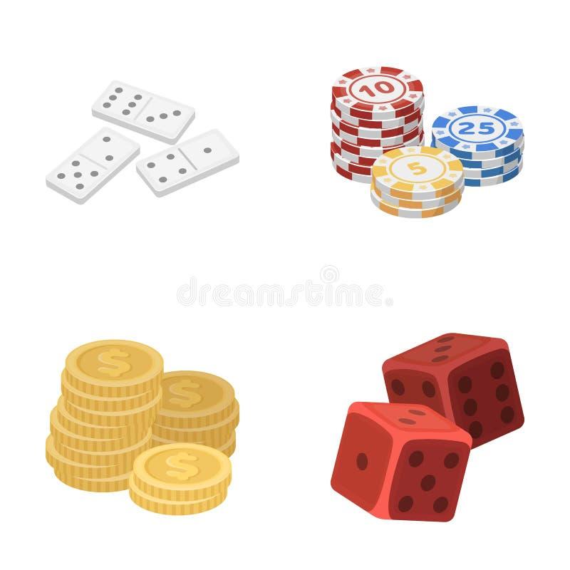 Dominobrickaben, bunt av chiper, en hög av mont som spelar kvarter Utformar fastställda samlingssymboler för kasino och för dobbl vektor illustrationer
