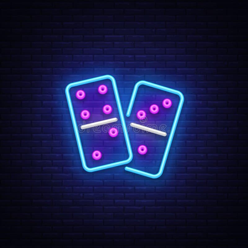 Dominobrickaneon Logo Vector Dominobrickaneontecken, designmall, modern trenddesign, nattneonskylt, ljus natt royaltyfri illustrationer