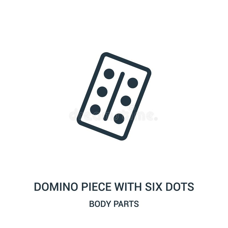 dominobrickastycke med sex pricksymbolsvektor från kroppsdelsamling Tunn linje dominobrickastycke med sex vektor för pricköversik royaltyfri illustrationer