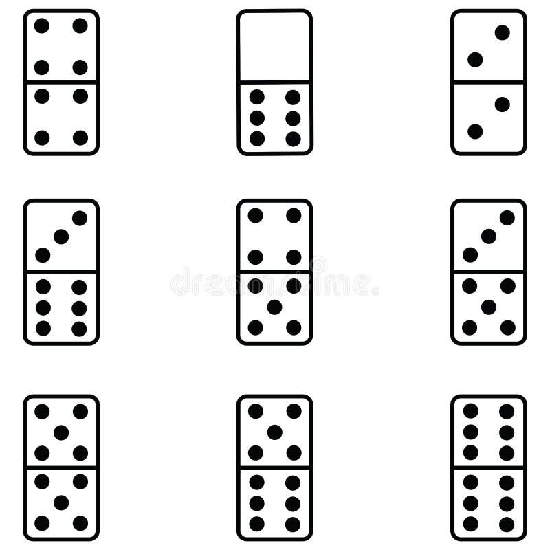 Dominobrickasymbolsuppsättning stock illustrationer