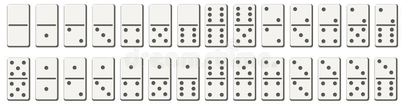 Dominobrickor eller dominobrickategelplattor som den vita vektorn isolerade modeller med svarta fläckar, numrerar för lek på geno stock illustrationer