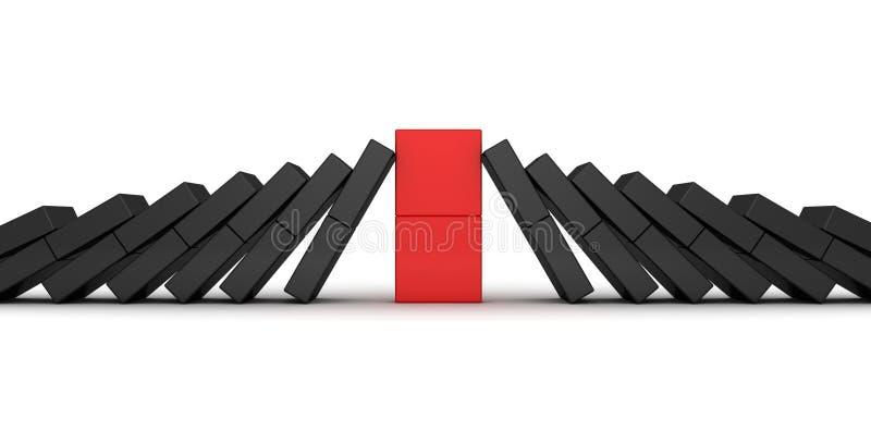 Dominoeffektkonzept mit rotem Führer vektor abbildung