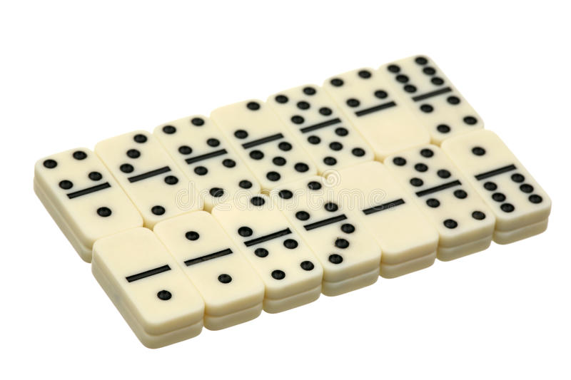 Dominoes. White dice on a white background stock images