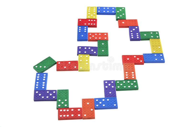 Dominoes. On Isolated White Background stock photo