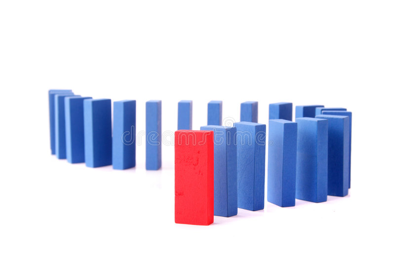 Dominoes. A line of blue dominoes with a single red block at first position. All isolated on white background stock image