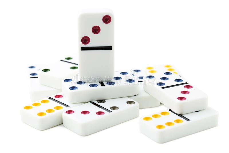 Dominoes. Isolated on white background royalty free stock photos