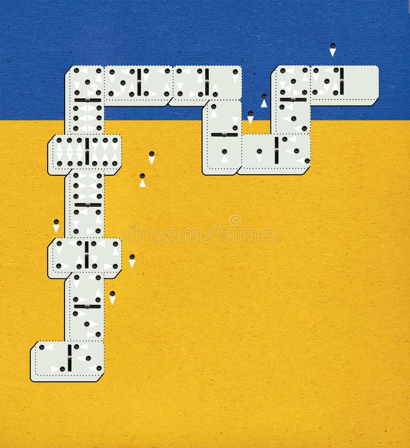 Dominoes with dots in the form of stylized men and women. Crowd. Staff. Against the background of the blue sky and the yellow. Field of textured paper vector illustration