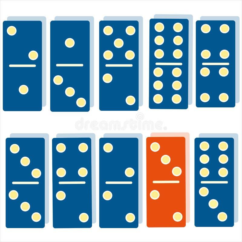 Dominogedankenspiel-Logiksymbol der blauen Dominos der Farbdominos orange vektor abbildung