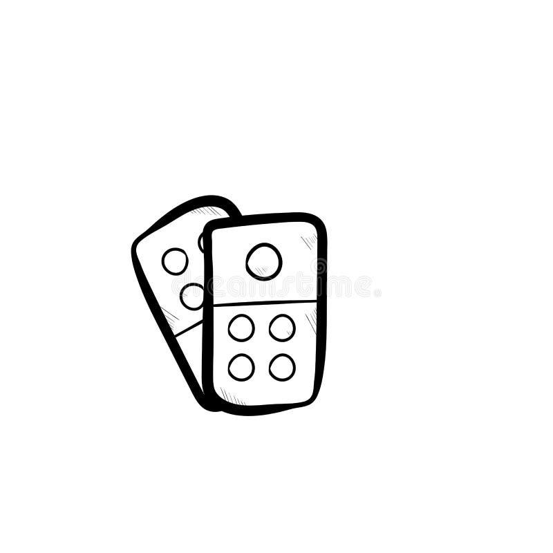 Dominohandgezogener Gekritzel-Ikonenvektor stockbilder
