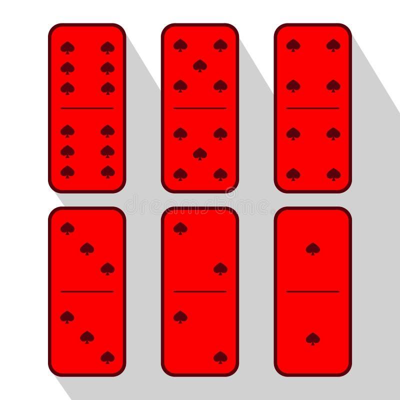 Dominorot sechs Stücke auf einem grauen Hintergrund lizenzfreie abbildung