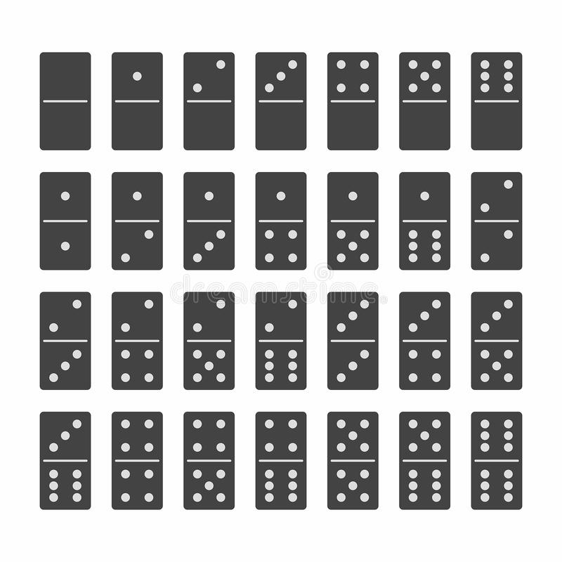 Complete Set of Domino Stones in Black royalty free illustration