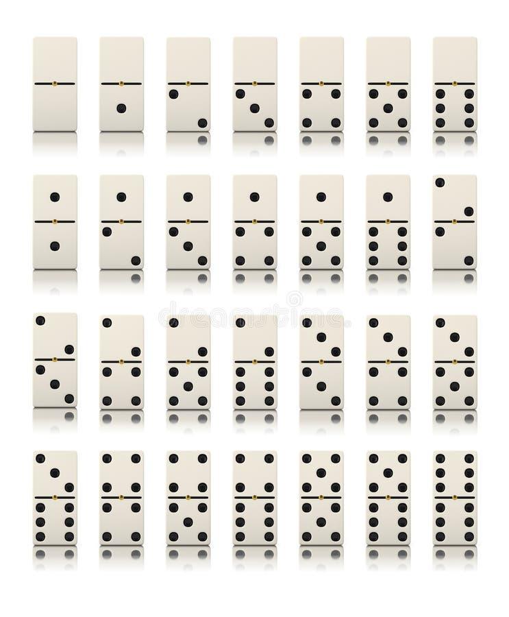 Dominospielsatz lokalisiert stock abbildung