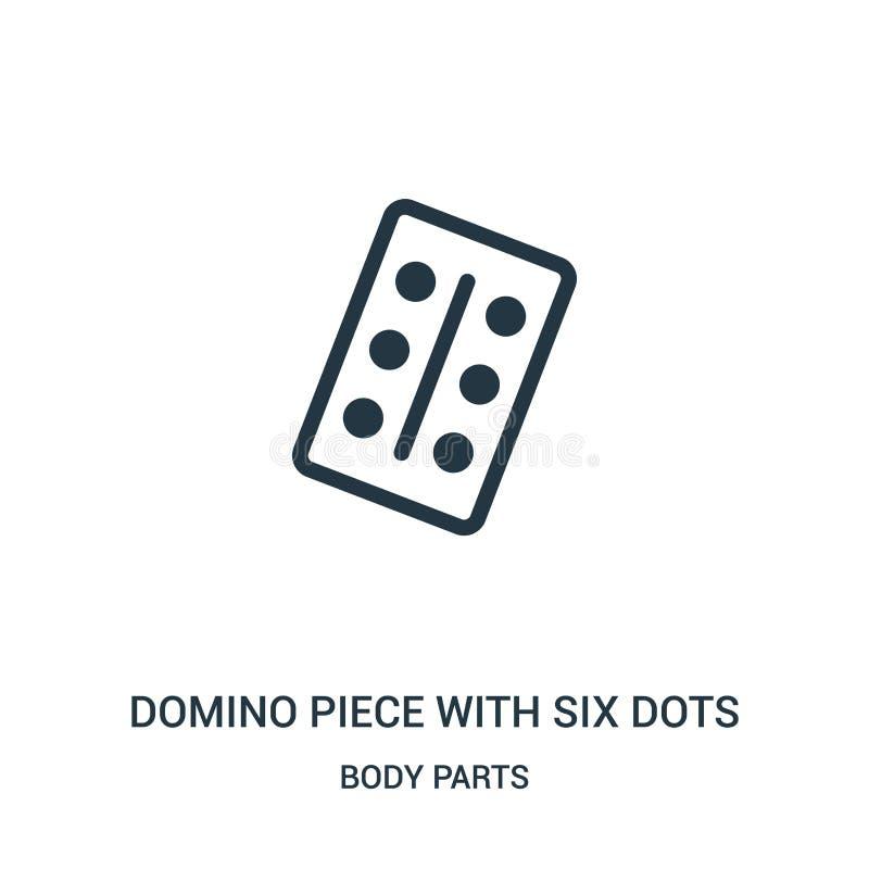 Dominostück mit sechs Punktikonenvektor von der Körperteilsammlung Dünne Linie Dominostück mit sechs Punktentwurfs-Ikonenvektor lizenzfreie abbildung