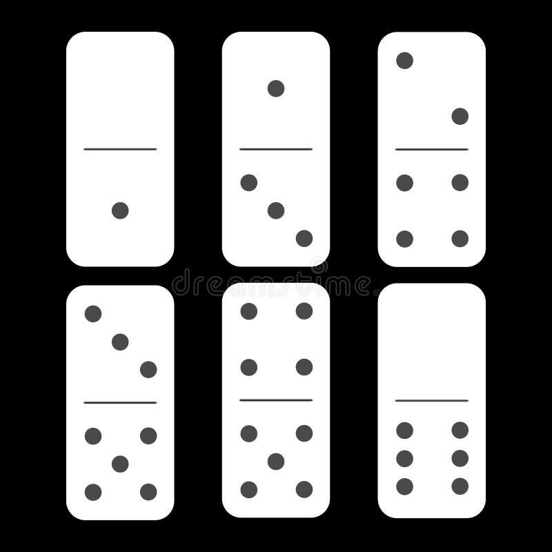 Dominoweiß null und ein sechs Stücke stock abbildung