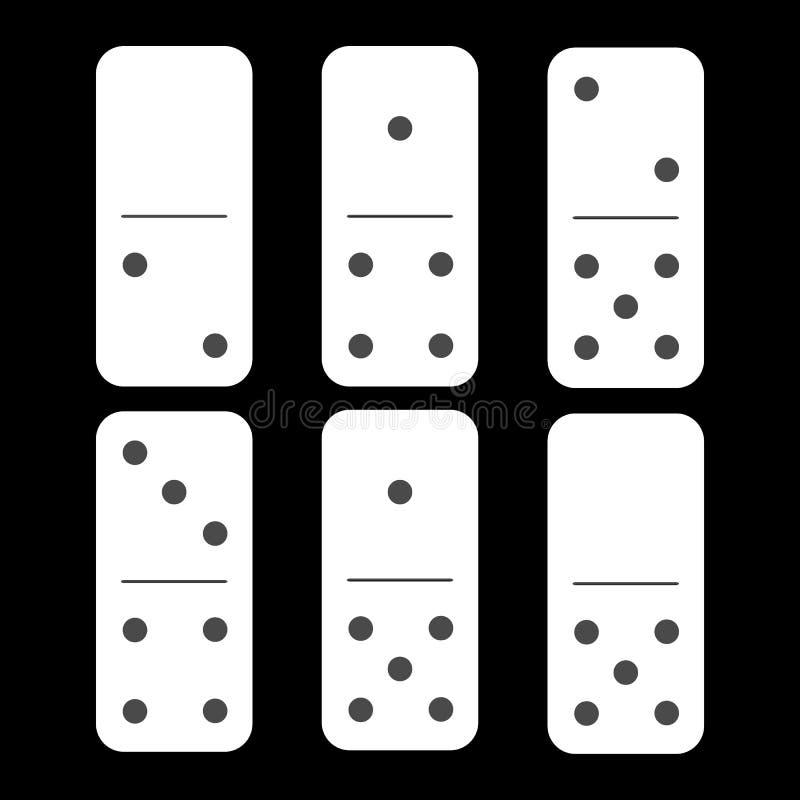 Dominoweiß null und zwei sechs Stücke vektor abbildung