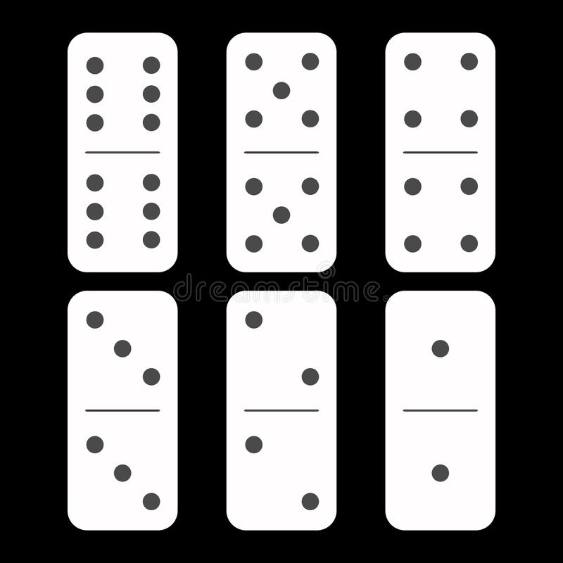 Dominoweiß sechs Stücke auf einem schwarzen Hintergrund stock abbildung