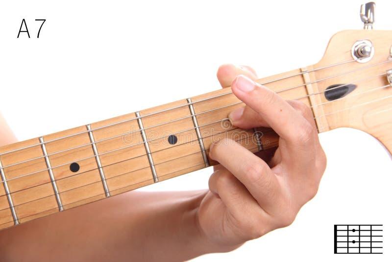 Dominujący siódmy gitary akordu tutorial fotografia stock