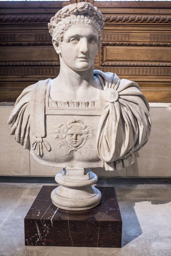 Domitian Emperor från 81 till marmor för 96 ANNONS luftventil fotografering för bildbyråer