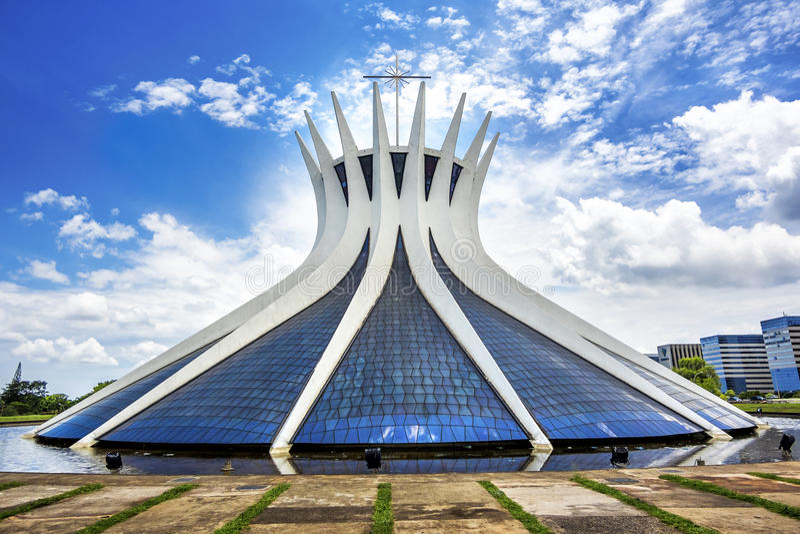 Domkyrka av Brasilia, huvudstad av Brasilien fotografering för bildbyråer