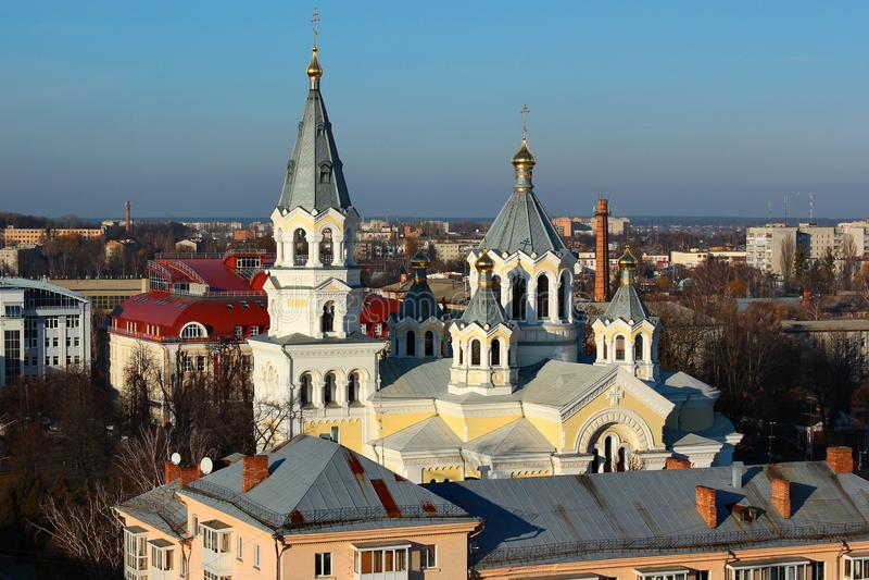 Domkyrka av den heliga omgestaltningen i Zhytomyr, Ukraina arkivfoton