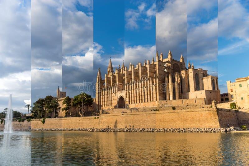Domkyrka av den Palma de Mallorca Golden timmen Timeslice arkivfoto