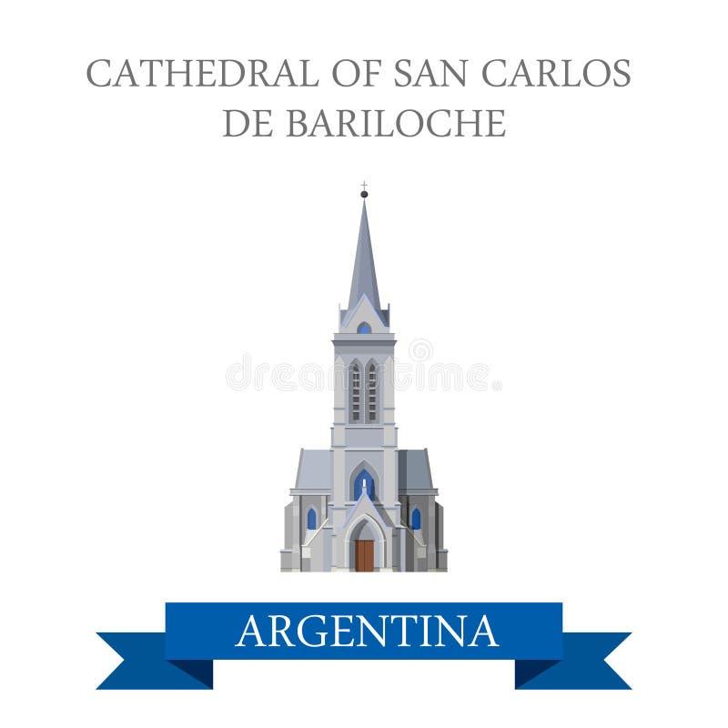 Domkyrka av den San Carlos de Bariloche Rio Negro Argentina vektorn royaltyfri illustrationer