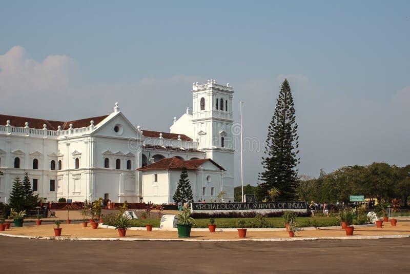 Domkyrka av helgonet Catherine av Alexandria, gamla Goa, Indien royaltyfria foton