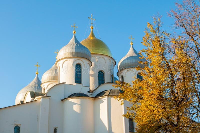 Domkyrka av helgonet Sophia i Veliky Novgorod, Ryssland - detaljerad closeupsikt av kupoler som inramas av höstträd arkivfoton