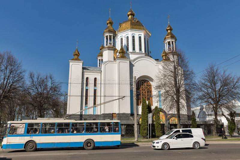 Domkyrka av interventionen i Rovno, Ukraina arkivbild