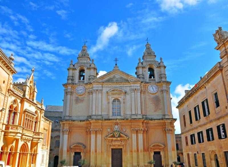 Domkyrka av Mdina, Malta royaltyfri bild