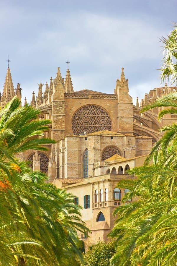 Domkyrka av Santa Maria av Palma de Mallorca, La Seu, Spanien royaltyfri fotografi
