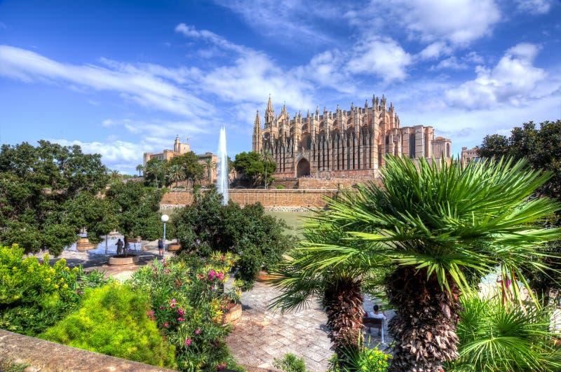 Domkyrka av Santa Maria av Palma La Seu, Palma de Mallorca, Spanien arkivfoton