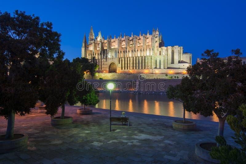 Domkyrka av Santa Maria av Palma La Seu på natten, Palma de Mallorca, Spanien royaltyfria bilder