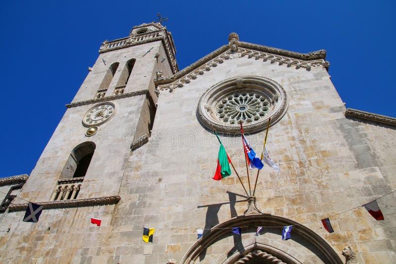 Domkyrka av St Mark i Korcula den gamla staden, Kroatien royaltyfri bild