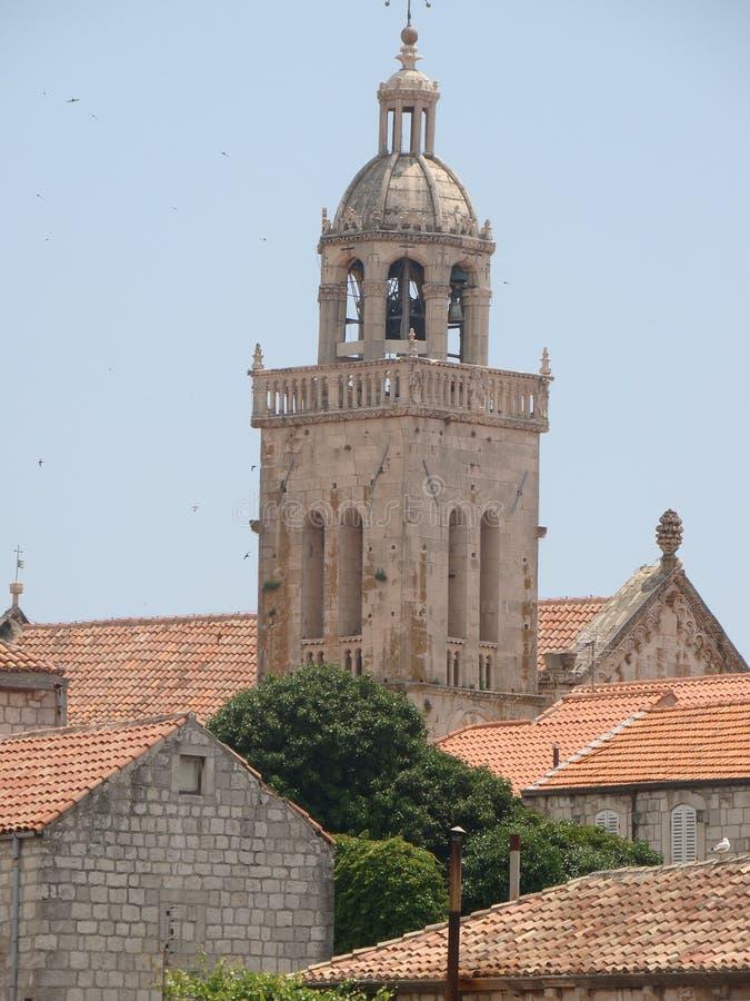 Domkyrka av St Marko, ö av Korcula, Kroatien arkivfoton