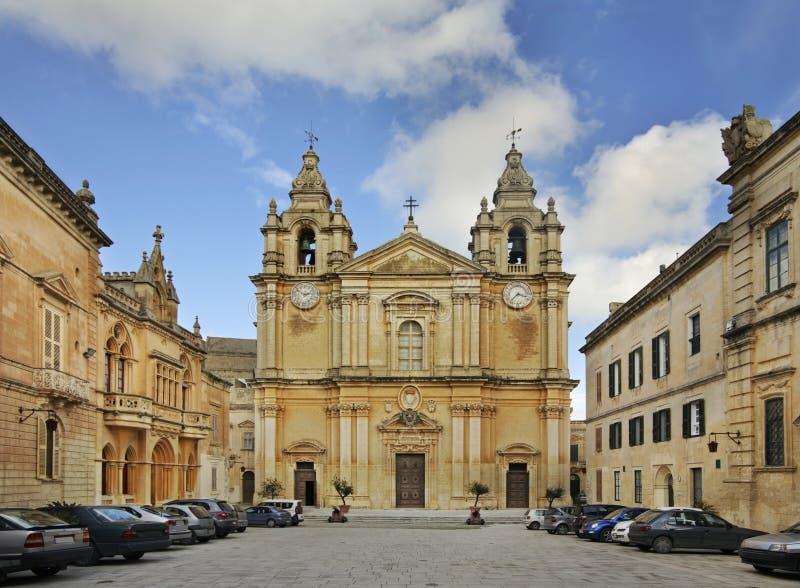 Domkyrka av St Paul i Mdina malta arkivfoto